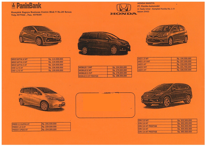 Daftar Harga Mobil Honda Di Batam Per April 2014
